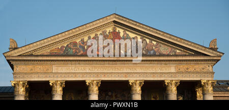 Budapest, Hungary - 8 august 2018:detail of Art Gallery Mucsarnok in Heroes Square. - Stock Photo