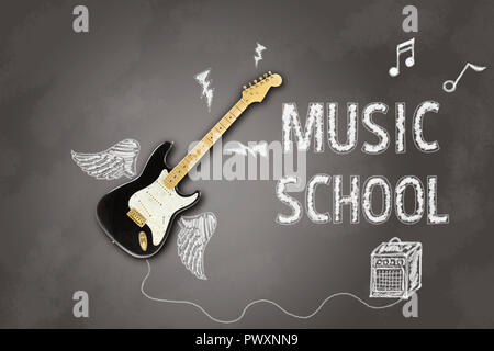 image depicting an electric guitar on a blackboard with announcement written in chalk related to music lessons - Stock Photo