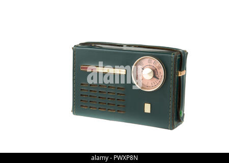 old radio of the 50-60s with a circular dial - Stock Photo