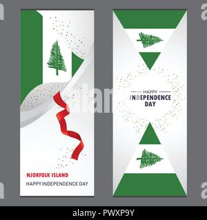 NJorfolk Island Happy independence day Confetti Celebration Background Vertical Banner set - Stock Photo