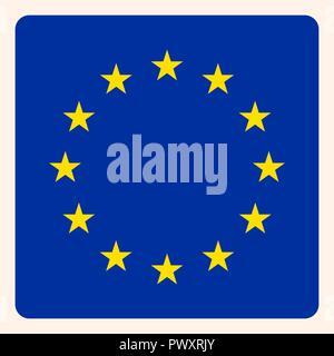 European Union square flag button, social media communication sign, business icon. - Stock Photo