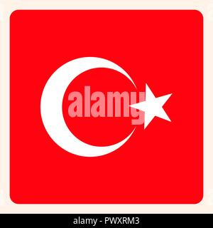 Turkey square flag button, social media communication sign, business icon. - Stock Photo