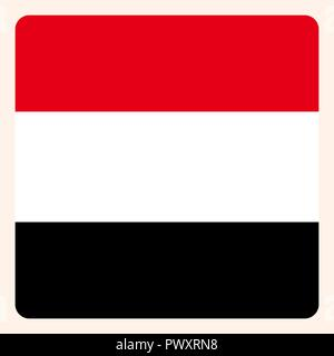 Yemen square flag button, social media communication sign, business icon. - Stock Photo