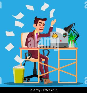 Angry Manager Siting At Table Crumples The Paper And Throwing It In Paper Basket Vector. Isolated Illustration - Stock Photo