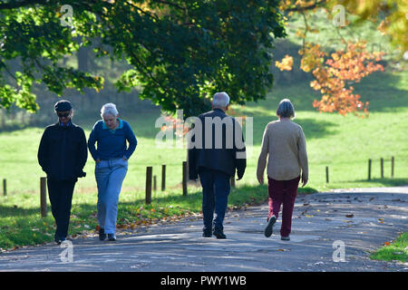 Ashton Court Estate. 18th Oct 2018. UK Weather, an early morning walk, stroll, fitness run with baby in pram and cycling at Ashton Court Estate in Bristol on a mild mid October.Robert Timoney/Alamy/News Credit: Robert Timoney/Alamy Live News - Stock Photo