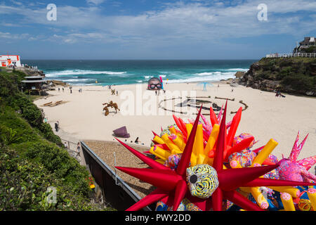 Tamarama Beach, Sydney Australia, 18th Oct 2018 Sculpture by the Sea, Tamarama Beach,the world's largest annual, free-to-the-public, outdoor sculpture exhibition, had its media launch  in Tamarama Beach Park today.  At the launch, the recipient of the Aqualand Sculpture Award, which has increased to $70,000 this year will be announced.  The launch will provide a first look at Credit: Paul Lovelace/Alamy Live News - Stock Photo
