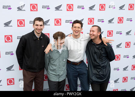 London, UK. 17th Oct 2018. The Round House Chalk Farm  The Magic Gang arrive at the Q Awards 2018  in Association with Absolute Radio People In Picture:  Kristian Smith, Paeris Giles, Angus Taylor and Jack Kaye Credit: Dean Fardell/Alamy Live News Stock Photo