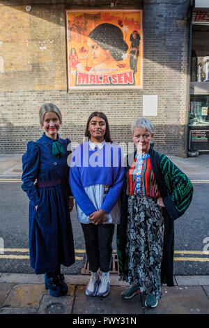 London, UK. 18th October, 2018. Jasmine Sehra, the artist, and her work, which features human rights activist Mala Sen - with Tate Director Maria Balshaw and Justine Simons, Deputy Mayor for Culture and Creative Industries to unveil public artworks marking the centenary of women's suffrage. The project includes 20 newly-commissioned artworks to celebrate London women is in public spaces across the city, through a partnership with the Mayor of London and the London Tate Collective team.  the artist . Credit: Guy Bell/Alamy Live News - Stock Photo