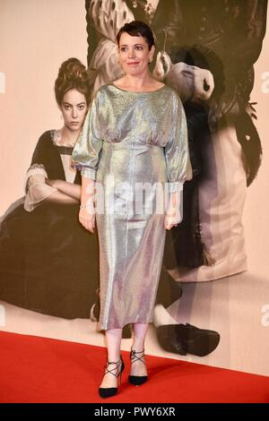 London, UK. 18th Oct, 2018. Olivia Coleman,'The Favourite'Premiere,BFI London Film Festival,London.UK Credit: michael melia/Alamy Live News - Stock Photo