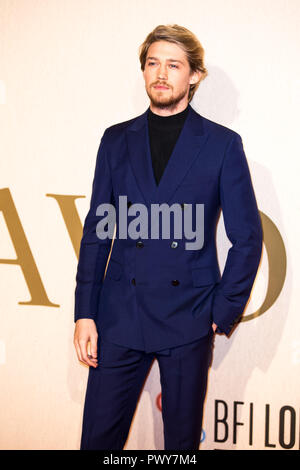 London, UK. 18th Oct, 2018. Joe Alwyn at The Favourite UK Premiere at the BFI London Film Festival American Express Gala on 18th October 2018 at BFI Southbank - London Credit: Tom Rose/Alamy Live News - Stock Photo