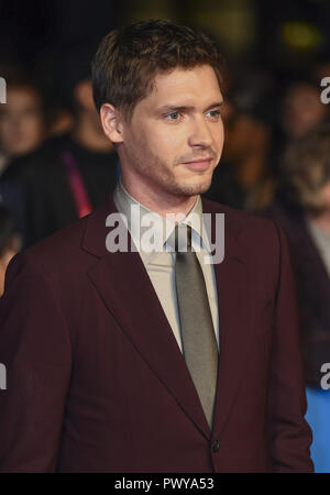 London, UK. 17th Oct, 2018. Billy Howle attends the 'Outlaw King' premiere at the BFI London Film Festival. Credit: Gary Mitchell/SOPA Images/ZUMA Wire/Alamy Live News Stock Photo