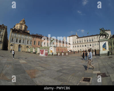 TURIN, ITALY - CIRCA SEPTEMBER 2018: The Piazza Castello square seen with fisheye lens - Stock Photo