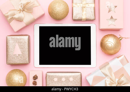 Online Shopping, Christmas Sale Concept. Boxing Day Sale Background. - Stock Photo