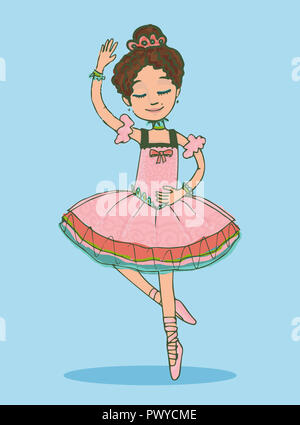 Beautiful brunette ballerina girl dancing in shiny pink dress. Isolated illustration on light-green  background - Stock Photo
