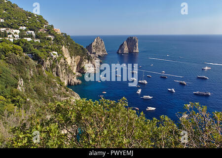 view of boats from top of capri chairlift - Stock Photo