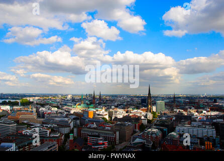 panorama view over the city of Hamburg in Germany - Stock Photo