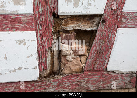 Damaged half-timbered house, Duderstadt, Lower Saxony, Germany, Europe - Stock Photo