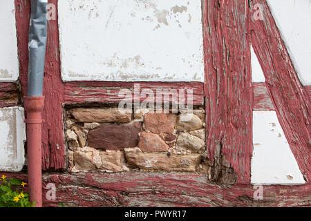 Damaged half-timbered house, Duderstadt, Lower Saxony, Germany, Europe - Stock Photo