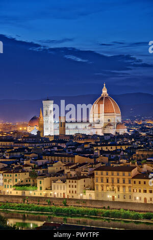 Florence Tuscany - Night scenery with Duomo Santa Maria del Fiori Renaissance architecture in Italy - Stock Photo
