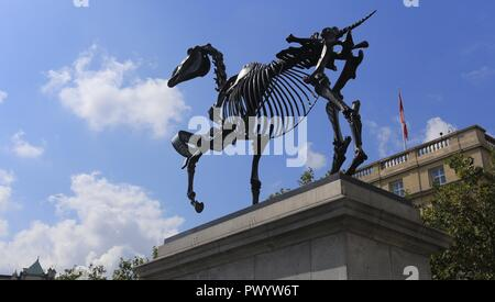 The Gift Horse by artist Hans Haacke on The Fourth Plinth at Trafalgar Square, London, 2015. - Stock Photo