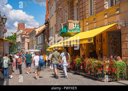 Vilnius old town, view in summer along Pilies Gatve - the main thoroughfare in the center of the historical Old Town quarter of Vilnius, Lithuania. - Stock Photo