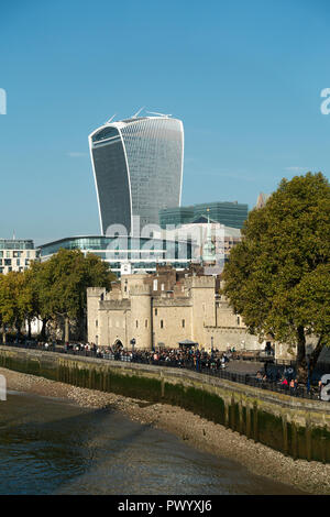 The Tower of London with the Walkie-Talkie Building at 20 Fenchurch Street in City of London England United Kingdom UK - Stock Photo