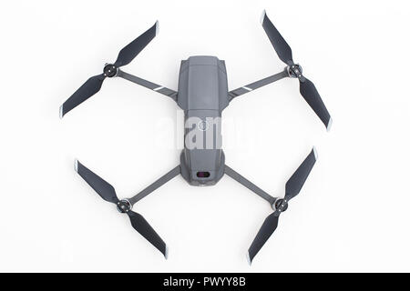 LONDON, UK - OCTOBER 18th 2018: DJI Mavic Pro 2 drone aerial camera on a white background. - Stock Photo