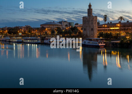 Golden Tower (Torre del Oro) at Guadalquivir River, Seville, Andalusia, Spain, Europe - Stock Photo