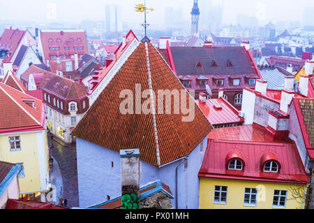 Tallinn, Estonia : High angle view of the roofs of the townhouses of the Old Town. - Stock Photo