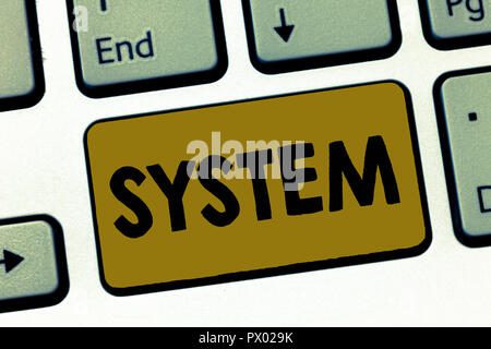 Writing note showing System. Business photo showcasing set of things working together as parts mechanism or network. - Stock Photo