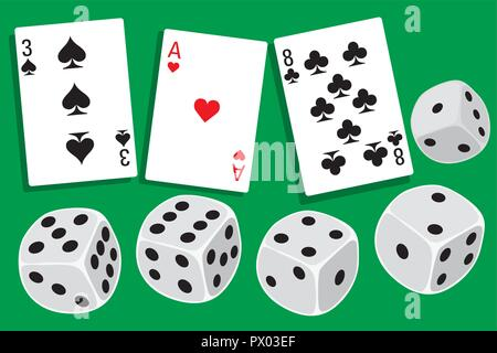 Gamble with dices rolling and different playing cards clubs, hearts and spades in background - illustration in simple clean design - Stock Photo