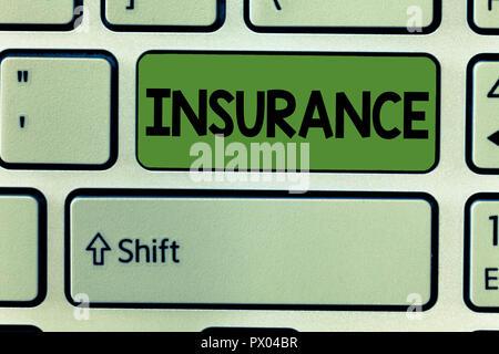 Conceptual hand writing showing Insurance. Business photo text arrangement company or state to guarantee for specified loss. - Stock Photo