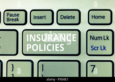 Writing note showing Insurance Policies. Business photo showcasing Documented Standard Form Contract Financial Reimbursement. - Stock Photo
