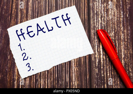 Text sign showing Health. Conceptual photo State of being free from Illness Injuries Mental Physical condition. - Stock Photo