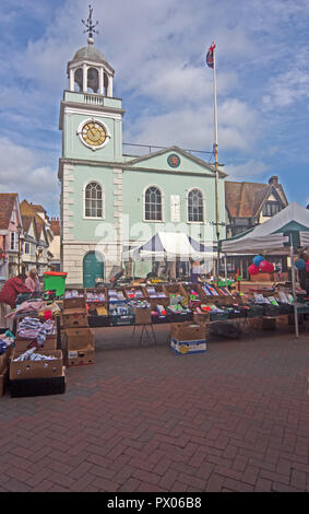 Faversham Kent Guildhall & Market Stalls - Stock Photo