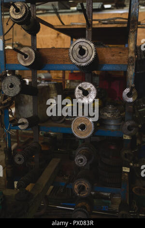 Machine parts in rope making industry - Stock Photo
