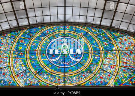 Tesla radio art nouveau stained glass advertisement in Pasáž Světozor,, Vodičkova, Prague, Czech Republic. - Stock Photo