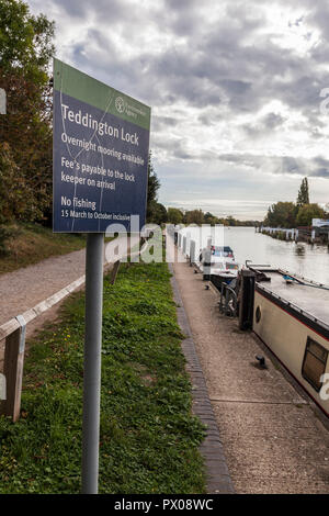 A information sign by the Environment Agency at Teddington Lock,England,UK - Stock Photo