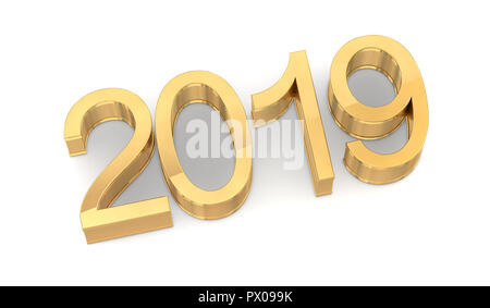 3D Golden 2019 on White Background. Three-dimensional rendering. - Stock Photo