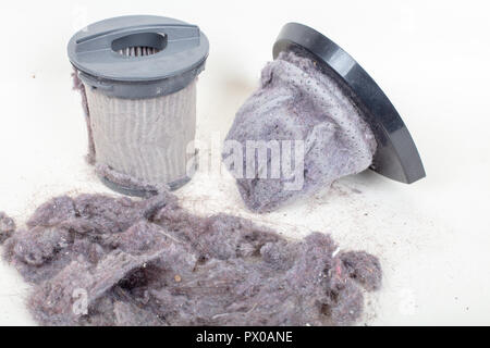 Common household dust on HEPA (High efficiency particulate air) filters from the vacuum cleaner.  macro view, isolated on a white background - Stock Photo