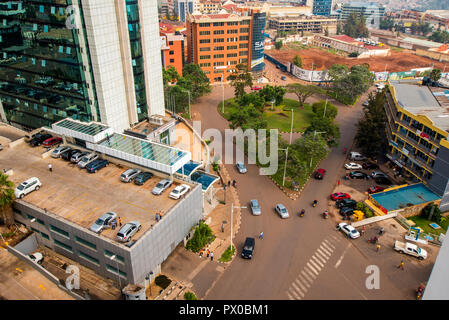 Kigali, Rwanda - September 21, 2018: A view looking down on the street system in the centre of the city - Stock Photo