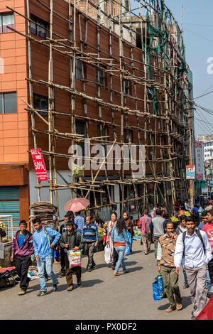 Bambook scaffolding in street at Police Bazaar, Shillong, Meghalaya, India - Stock Photo
