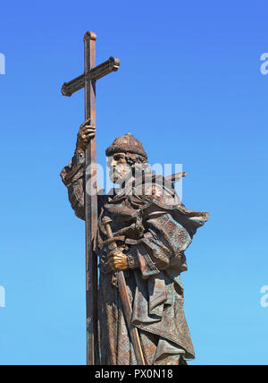 Moscow sculptural monument to baptizer of Russia Prince Vladimir of bronze - Stock Photo