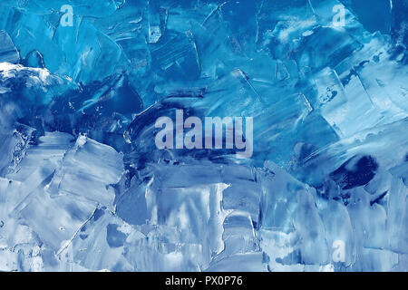 Abstract background texture in blue tones, brush strokes with oil paints on canvas - Stock Photo