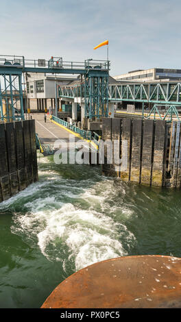 BREMERTON, WASHINGTON STATE, USA - JUNE 2018: Wide angle view of the dock in Bremertong from a ferry departing on its journey to Seattle. - Stock Photo