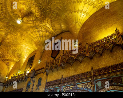 Fan vaulted ceiling and Gothic style foyer of the State Theatre Market Street Sydney NSW Australia. - Stock Photo