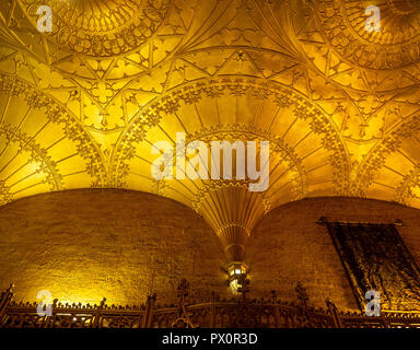 Fan vaulted ceiling of the foyer of the State Theatre Market Street Sydney NSW Australia. - Stock Photo