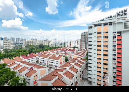 Slanted roof HDB Blocks in Potong Pasir, Singapore - Stock Photo