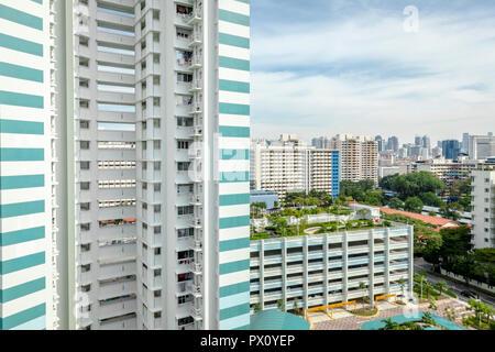 Cityscape of HDB public housing blocks in Balestier, Singapore - Stock Photo