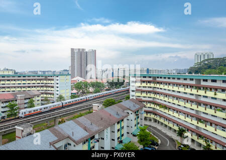 Cityscape of HDB public housing blocks in Bukit Batok New Town in Singapore - Stock Photo